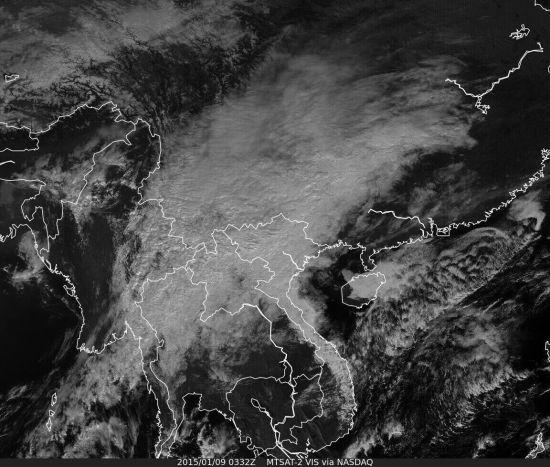 2015年1月9日,云南遭遇槽潮,全省被强降水云系覆盖。